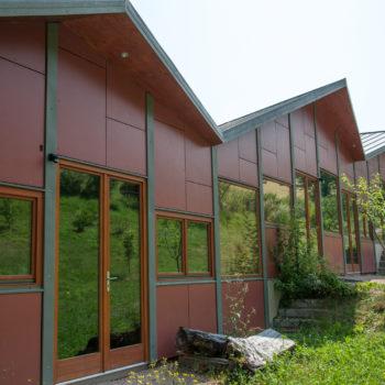 Bâtiment public en bois, revêtement en vois coloré