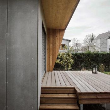 Extension d'une maison ossature bois, bardage en bois, terrasse en bois