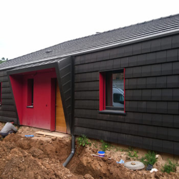 Maison individuelle ossature bois, bardage bois noir