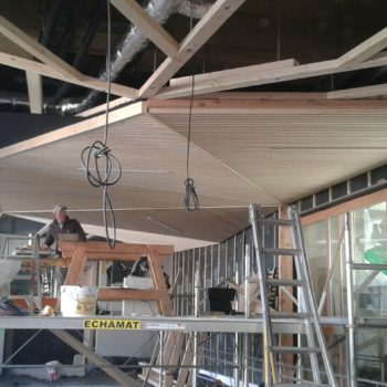Levage d'un plafond en bardage bois ajouré