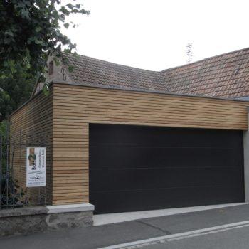 garage en bois, bardage en bois horizontal ajouré
